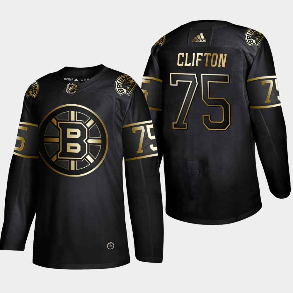 Bruins 74 Connor Clifton Black Gold Adidas Jersey