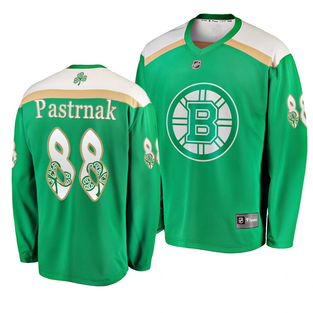 Bruins 88 David Pastrnak Green 2019 St. Patrick's Day Adidas Jersey