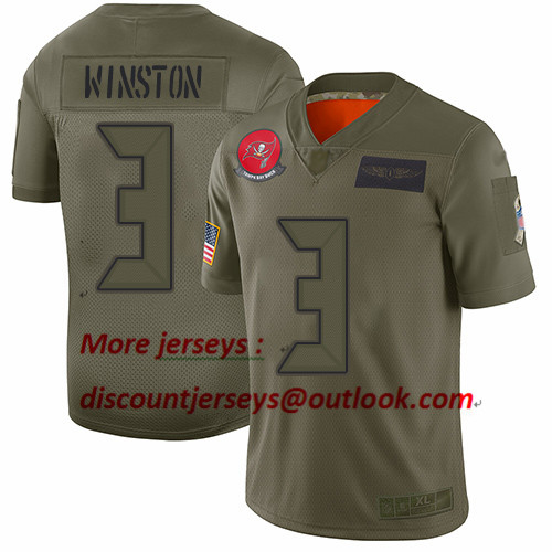 Buccaneers #3 Jameis Winston Camo Youth Stitched Football Limited 2019 Salute to Service Jersey