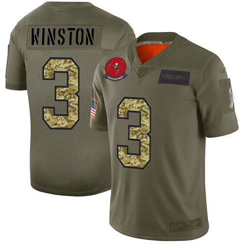 Buccaneers #3 Jameis Winston Olive Camo Men's Stitched Football Limited 2019 Salute To Service Jersey
