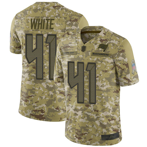 Buccaneers #41 Devin White Camo Men's Stitched Football Limited 2018 Salute To Service Jersey