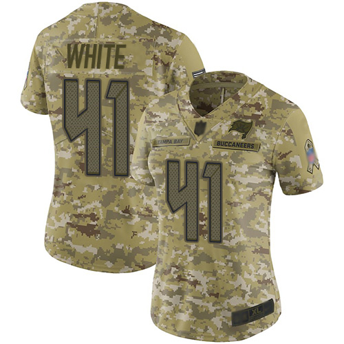 Buccaneers #41 Devin White Camo Women's Stitched Football Limited 2018 Salute to Service Jersey