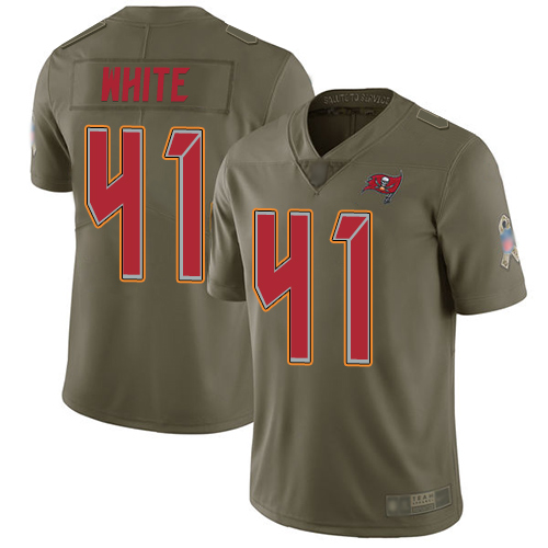 Buccaneers #41 Devin White Olive Men's Stitched Football Limited 2017 Salute To Service Jersey