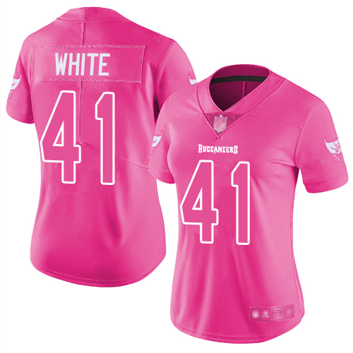 Buccaneers #41 Devin White Pink Women's Stitched Football Limited Rush Fashion Jersey