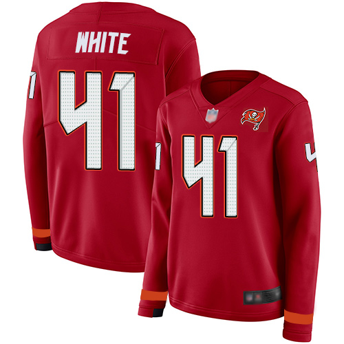 Buccaneers #41 Devin White Red Team Color Women's Stitched Football Limited Therma Long Sleeve Jersey