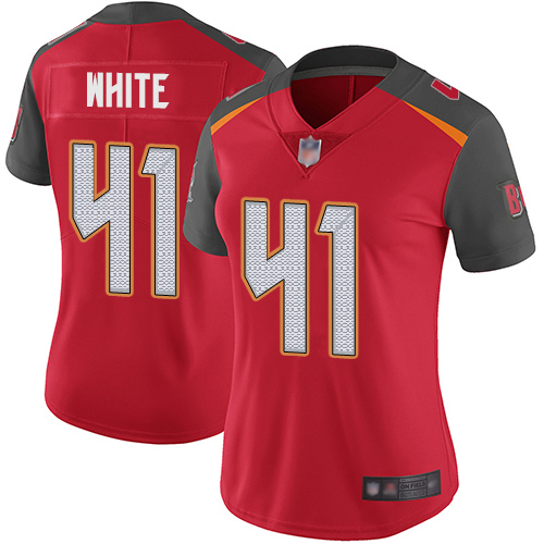 Buccaneers #41 Devin White Red Team Color Women's Stitched Football Vapor Untouchable Limited Jersey
