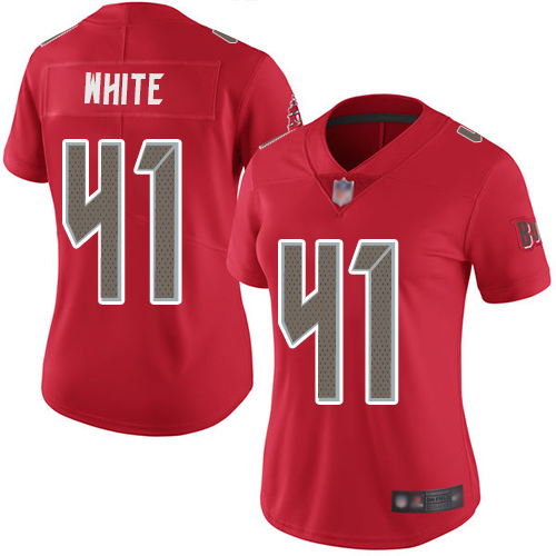 Buccaneers #41 Devin White Red Women's Stitched Football Limited Rush Jersey