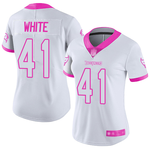 Buccaneers #41 Devin White White Pink Women's Stitched Football Limited Rush Fashion Jersey