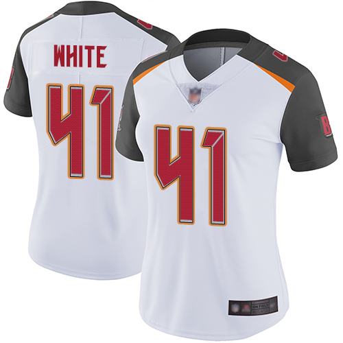 Buccaneers #41 Devin White White Women's Stitched Football Vapor Untouchable Limited Jersey