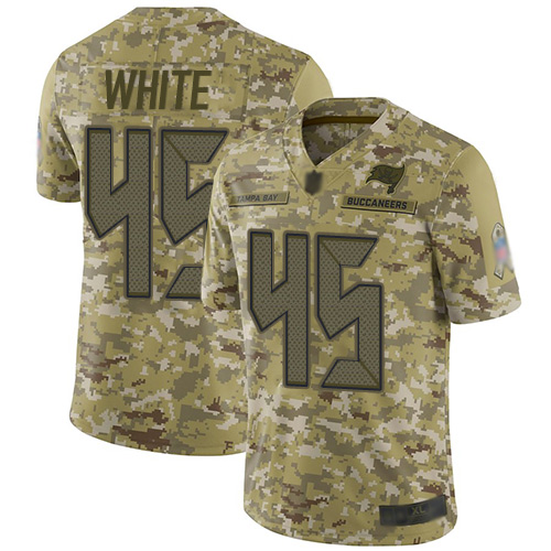 Buccaneers #45 Devin White Camo Men's Stitched Football Limited 2018 Salute To Service Jersey