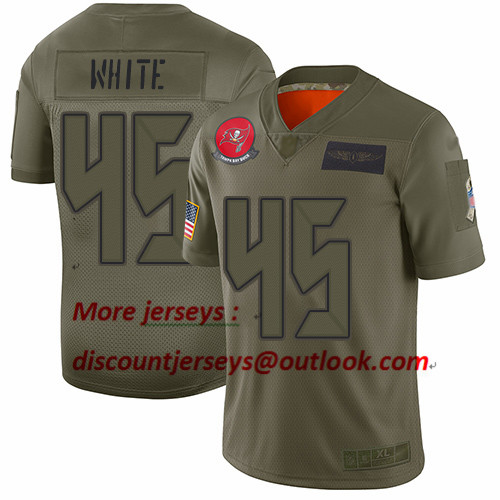 Buccaneers #45 Devin White Camo Youth Stitched Football Limited 2019 Salute to Service Jersey