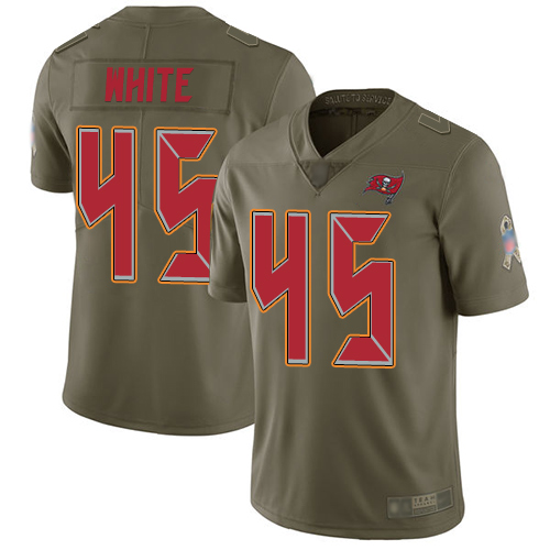 Buccaneers #45 Devin White Olive Men's Stitched Football Limited 2017 Salute To Service Jersey