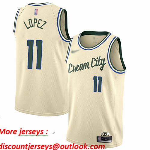 Bucks #11 Brook Lopez Cream Basketball Swingman City Edition 2019 20 Jersey
