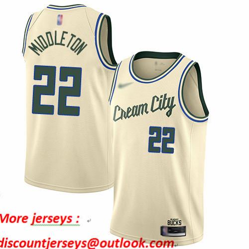 Bucks #22 Khris Middleton Cream Basketball Swingman City Edition 2019 20 Jersey