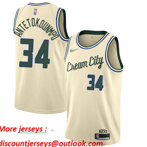 Bucks #34 Giannis Antetokounmpo Cream Basketball Swingman City Edition 2019 20 Jersey