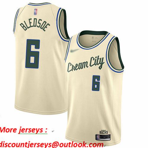 Bucks #6 Eric Bledsoe Cream Basketball Swingman City Edition 2019 20 Jersey