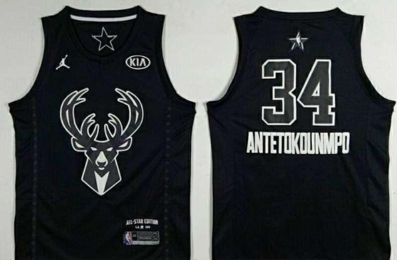 Bucks 34 Giannis Antetokounmpo Black 2018 All-Star Game Jordan Brand Authentic Jersey