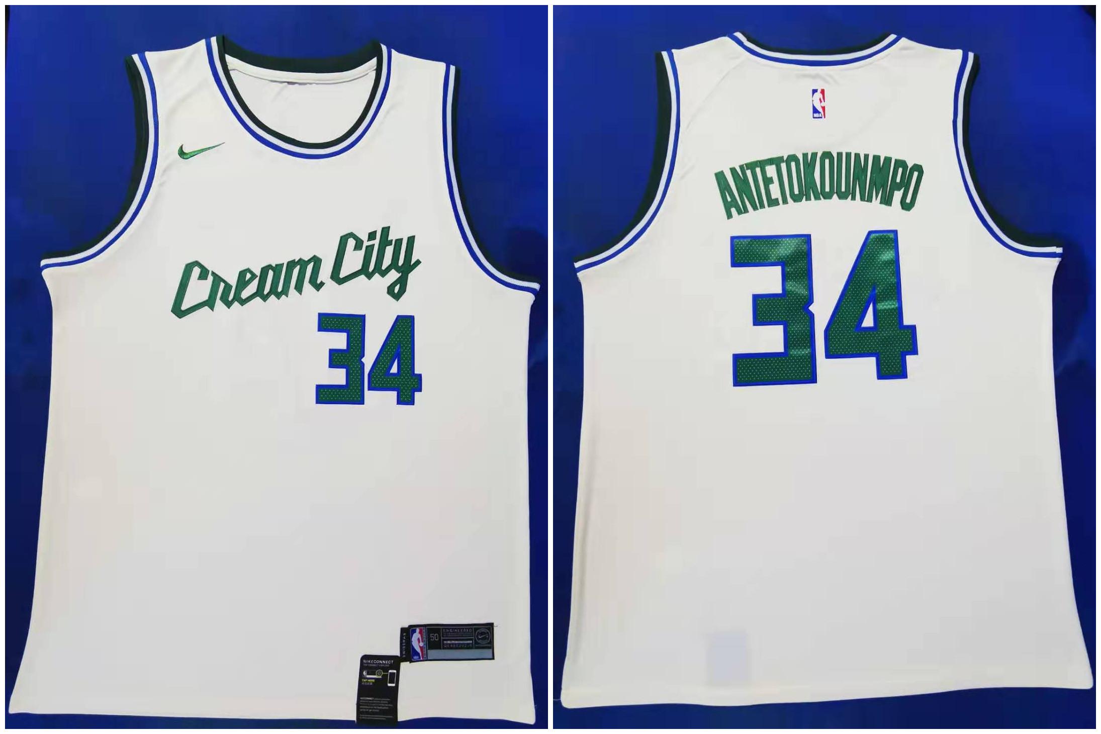 Bucks 34 Giannis Antetokounmpo Cream 2019-20 City Edition Nike Swingman Jersey