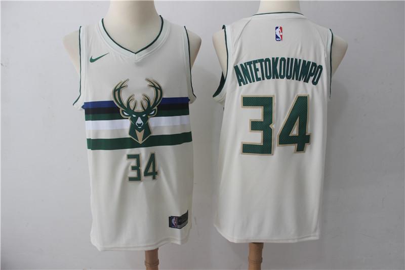 Bucks 34 Giannis Antetokounmpo Cream Nike City Edition Swingman Jersey