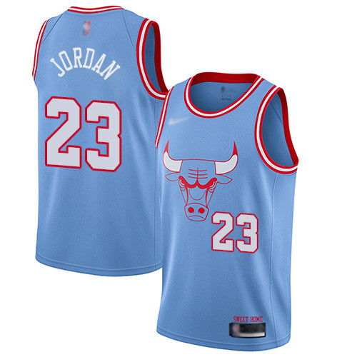 Bulls #23 Michael Jordan Blue Basketball Swingman City Edition 2019 20 Jersey