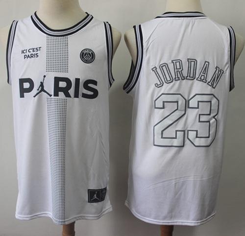 Bulls #23 Michael Jordan White Ici C'est Paris Stitched Basketball Jersey