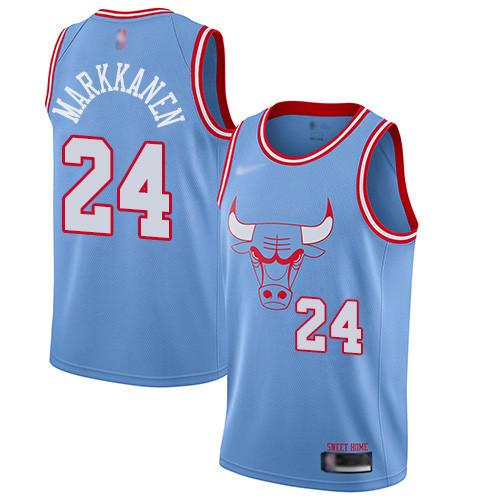 Bulls #24 Lauri Markkanen Blue Basketball Swingman City Edition 2019 20 Jersey