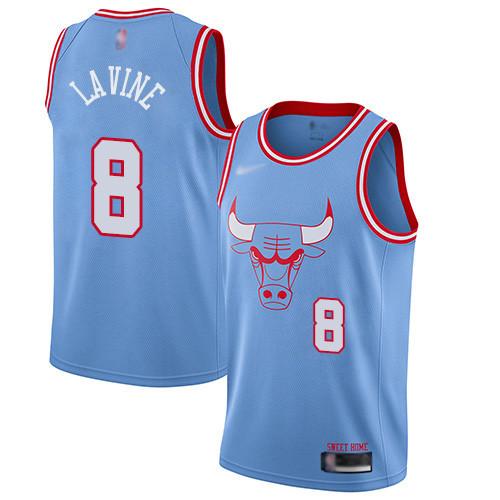 Bulls #8 Zach LaVine Blue Basketball Swingman City Edition 2019 20 Jersey