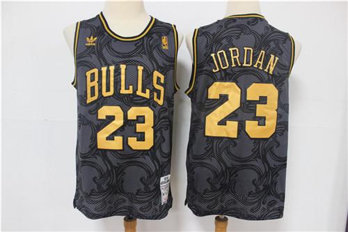 Bulls 23 Michael Jordan Black Hardwood Classics Jersey