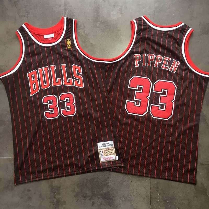 Bulls 33 Scottie Pippen Black 1995-96 Hardwood Classics Jersey