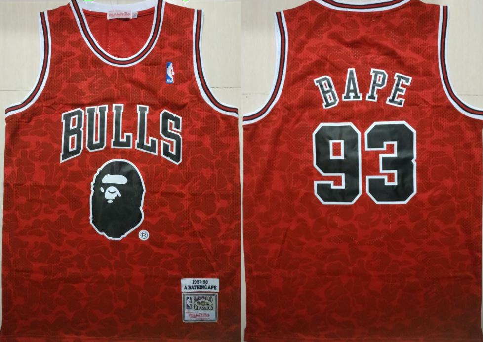 Bulls 93 Bape Red 1997-98 Hardwood Classics Jersey