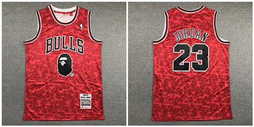 Bulls Bape 23 Michael Jordan Red 1996-97 Hardwood Classics Jersey