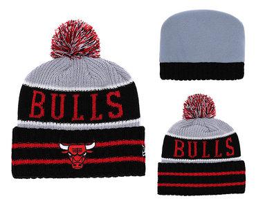 Bulls Black Banner Block Cuffed Knit Hat With Pom YD