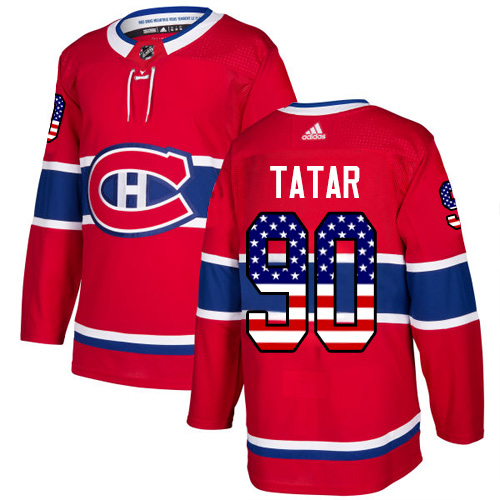 Canadiens #90 Tomas Tatar Red Home Authentic USA Flag Stitched Hockey Jersey