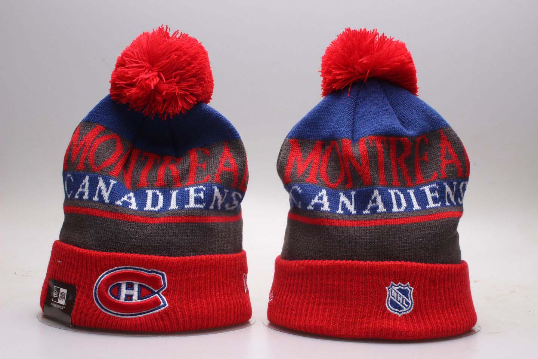 Canadiens Fresh Logo Red Sport Pom Cuffed Knit Hat YP