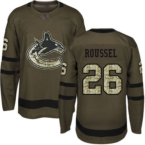 Canucks #26 Antoine Roussel Green Salute to Service Stitched Hockey Jersey