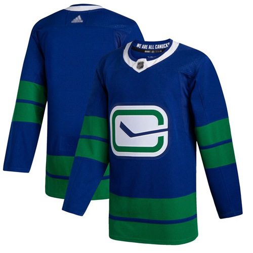 Canucks Blank Blue Alternate Authentic Stitched Hockey Jersey