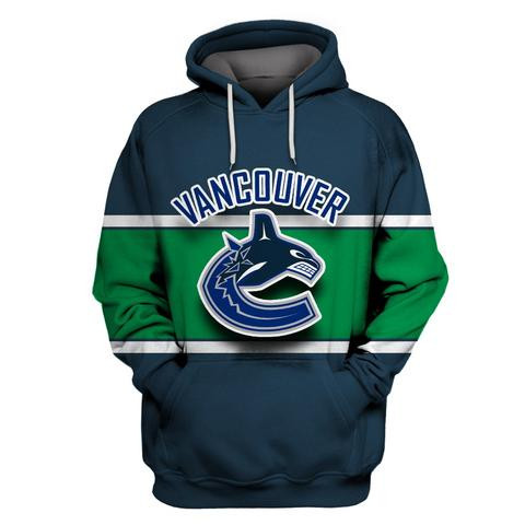 Canucks Navy All Stitched Hooded Sweatshirt