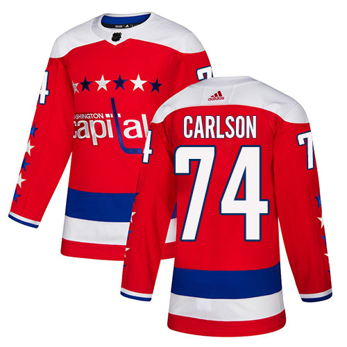 Capitals #74 John Carlson Red Alternate Authentic Stitched Hockey Jersey