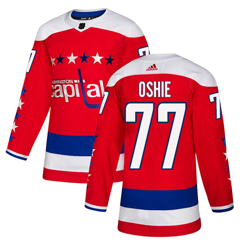 Capitals #77 T.J. Oshie Red Alternate Authentic Stitched Hockey Jersey