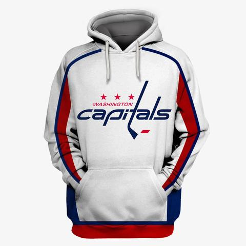 Capitals White All Stitched Hooded Sweatshirt