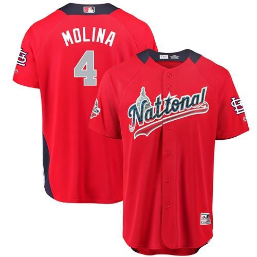 Cardinals #4 Yadier Molina Red 2018 All-Star National League Stitched Baseball Jersey