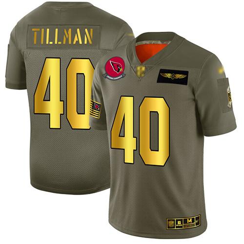 Cardinals #40 Pat Tillman Camo Gold Men's Stitched Football Limited 2019 Salute To Service Jersey
