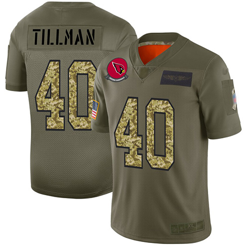 Cardinals #40 Pat Tillman Olive Camo Men's Stitched Football Limited 2019 Salute To Service Jersey