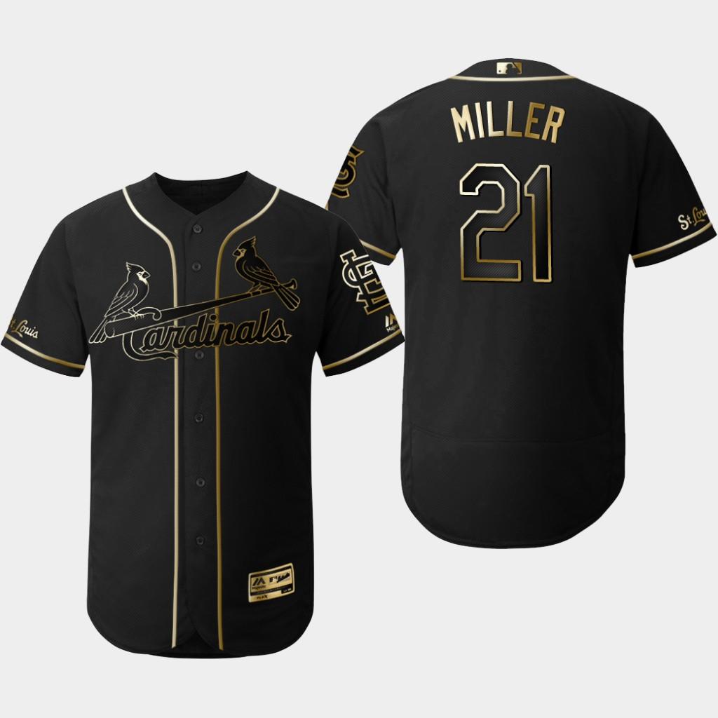 Cardinals 21 Andrew Miller Black Gold Flexbase Jersey