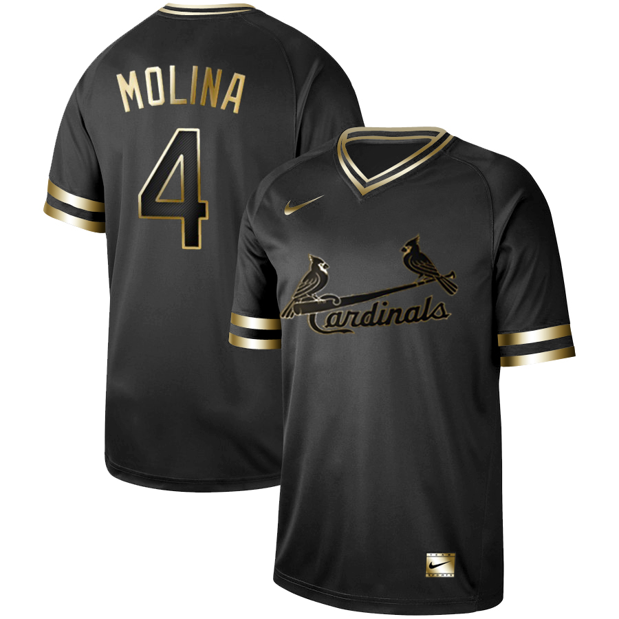 Cardinals 4 Yadier Molina Black Gold Nike Cooperstown Collection Legend V Neck Jersey