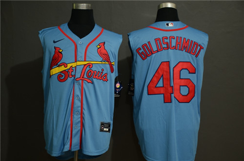 Cardinals 46 Paul Goldschmidt Light Blue Nike Cool Base Sleeveless Jersey