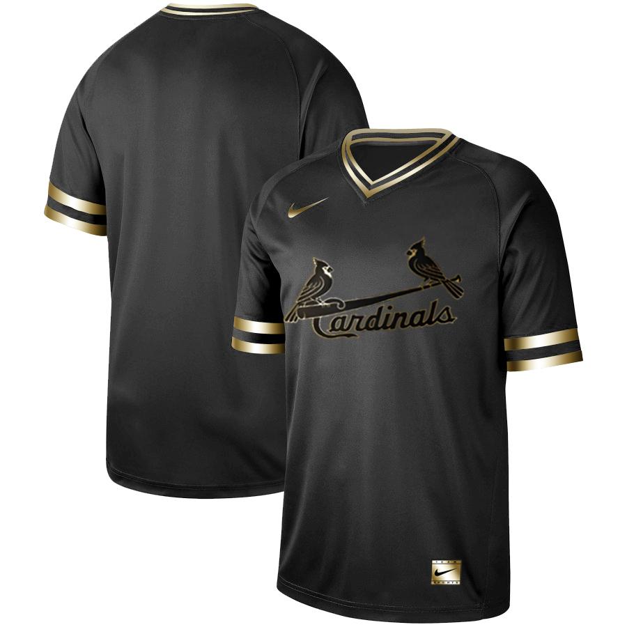 Cardinals Blank Black Gold Nike Cooperstown Collection Legend V Neck Jersey