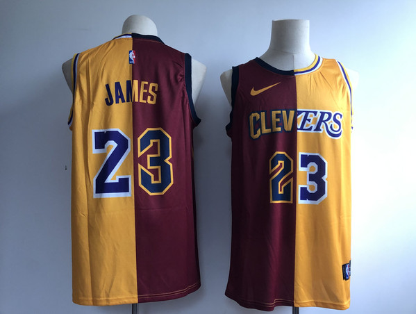 Cavaliers 23 Lebron James Burgundy Gold Split Nike Swingman Jersey