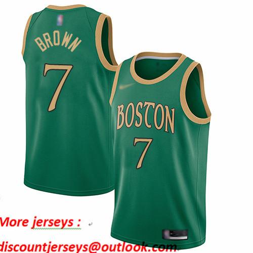 Celtics #7 Jaylen Brown Green Basketball Swingman City Edition 2019 20 Jersey
