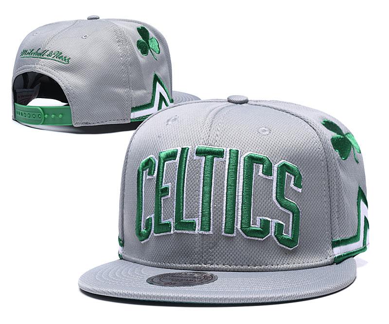 Celtics Team Logo Gray Mitchell & Ness Adjustable Hat TX